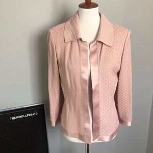 St. John Blush Pink Silk Trim Knit Open Blazer